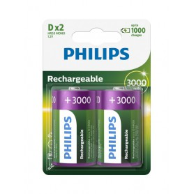 PHILIPS, Philips MultiLife 1.2V D / HR20 3000mAh NiMh rechargeable battery, Size C D and XL, BS053-CB