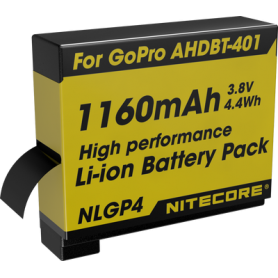 NITECORE, Nitecore NLGP4 Battery for GoPro Hero4 AHDBT-401 1160mAh 3.8V, GoPro photo-video batteries, BS063, EtronixCenter.com