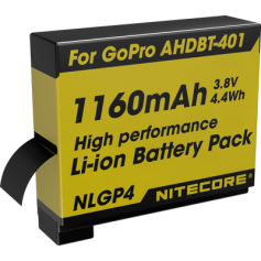NITECORE - Nitecore NLGP4 Battery for GoPro Hero4 AHDBT-401 1160mAh 3.8V - GoPro photo-video batteries - BS063