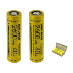 NITECORE, Dou-Pack Nitecore IMR18650 Li-ion 2600mAh 3.7V 40A, Size 18650, BS067-CB