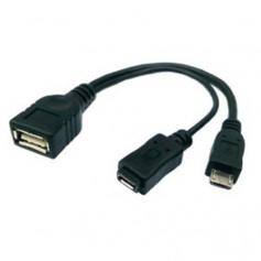 Micro USB F+M OTG Host USB F Cable Splitter Black AL679