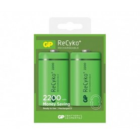 GP, 2x GP Recyko+ 1.2V D / HR20 2200mAh NiMh rechargeable battery, Size C D and XL, BS107-CB
