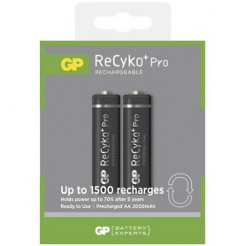 GP, Duo GP R6/AA ReCyko+ PRO 2000mAh 1.2V NiMH Rechargeable Batteries, Size AA, BS123-CB