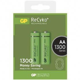 GP, Duo GP ReCyco+ AA / Mignon / HR6 / LR6 1300mAh Rechargeable Battery - 1300 Series, Size AA, BS124-CB