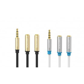 Vention - 3.5mm Mic + Headphone Male to 2x Female Audio Adapter - Audio adapters - V041-CB www.NedRo.us