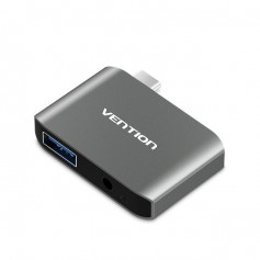 Vention - USB-C C Type USB C To USB 3.0 + AUX Female Adapter - Audio adapters - V050