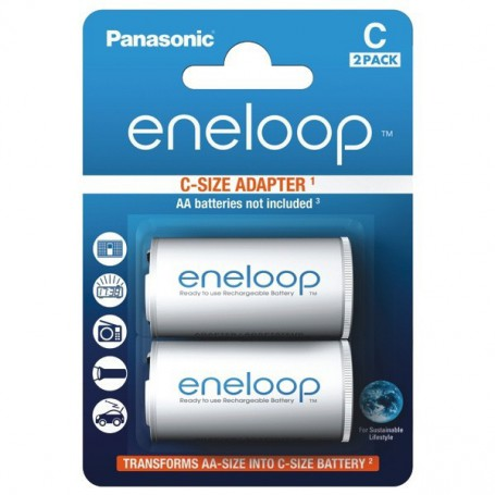 Panasonic - Panasonic Eneloop Adapter AA R6 to Baby C - 2 Pieces - Battery accessories - BS142-CB