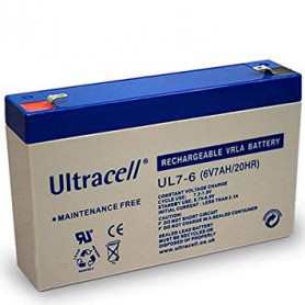 Ultracell - Ultracell UL7-6 6V 7Ah 7000mAh Rechargeable Lead Acid Battery - Battery Lead-acid  - BS140