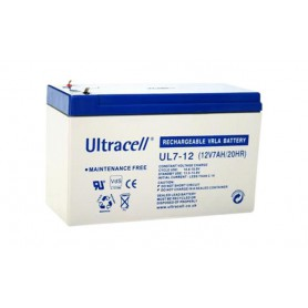 Ultracell - Ultracell UL7-12 12V 7Ah 7000mAh Rechargeable Lead Acid Battery - Battery Lead-acid  - BS141