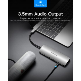 Vention - All in One USB-C C Type USB C To RJ45/HDMI/Audio 3.5mm/USB 3.0 /USB-C/TF/SD Female Adapter - USB adapters - V053 ww...