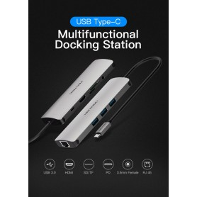 Vention, All in One USB-C C Type USB C To RJ45/HDMI/Audio 3.5mm/USB 3.0 /USB-C/TF/SD Female Adapter, USB adapters, V053