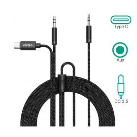 Wofalo - Wofalo Car Aux Audio Cable, 2 in 1 Type C to 3.5mm with 3.5mm Male to Male - Audio cables - AL1015