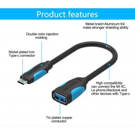 Vention, USB 3.0 Female to Type-C Male OTG cable 0.1M, Other data cables , V070, EtronixCenter.com