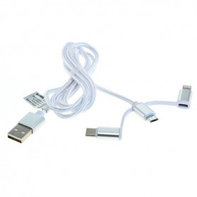 OTB - Data Cable 3in1 - iPhone / Micro-USB / USB-C - Nylon - 1.0M - iPhone data cables  - ON6019 www.NedRo.us