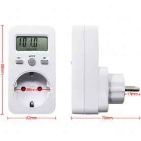 Calex, Digital Wattmeter with LCD Display AC 230V 16A 3680W, Plugs and Adapters, AL1033, EtronixCenter.com