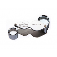 NedRo - 10x-18mm and 20x-12mm Silver Mini Jewelry Loupe Magnifier Glass - Magnifiers microscopes - AL1057