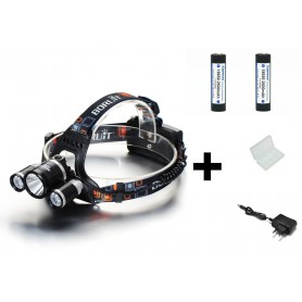 Boruit - 3000Lm XML-T6 2x XML-U2 LED Bike Headlight with 2x 18650 Batteries and charger - Flashlights - HLP01+2x-NK217