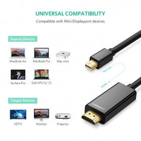 UGREEN - Mini Dislayport DP Male to HDMI Male cable 4K*2K - Displayport and DVI cables - UG410-CB www.NedRo.us