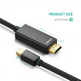 UGREEN, Mini Dislayport DP Male to HDMI Male cable 4K*2K, Displayport and DVI cables, UG410-CB