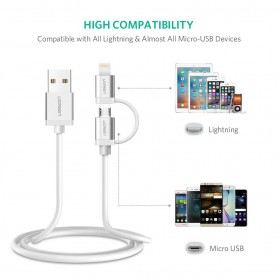 UGREEN - UGREEN Lightning Cable, USB A to Micro USB and Lightning Cable - iPhone data cables  - UG419-CB www.NedRo.us