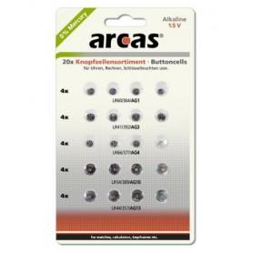 Arcas Alkaline mixed set 4xAG1, 4xAG3, 4xAG4, 4xAG10, 4xAG13