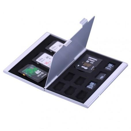NedRo, TF and SD Memory Cards Aluminium Storage Case, SD and USB Memory, AL643-CB