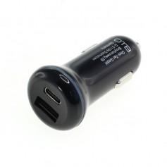 Dual USB car charger adapter (USB-C + USB-A)- USB-PD 2-PORT 30W