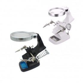 Magnifying glass Loupe 3x and 4.5x Zoom Solder Holder With LED Lamp