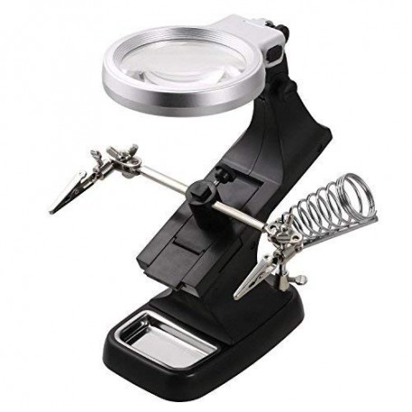 NedRo - Magnifying glass Loupe 3x and 4.5x Zoom Solder Holder With LED Lamp - Magnifiers microscopes - AL322-CB