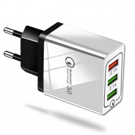 Oem - QC3.0 5V / 9V / 12V 2.1A 100-240V Triplet USB EU wall charger - Ac charger - AL463-CB
