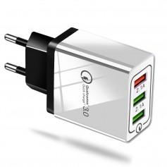 QC3.0 5V / 9V / 12V 2.1A 100-240V Triplet USB EU wall charger