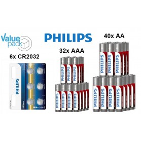 PHILIPS - Philips Power Pack - Power Alkaline AA AAA CR2032 - Size AA - BS349-CB www.NedRo.us