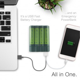 GP - GP X411 powerbank and battery charger + 4x AA 2600mAh - Battery chargers - BS359 www.NedRo.us
