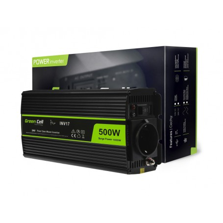 Green Cell - 1000W DC 24V to AC 230V with USB Current Inverter Converter - Pure/Full Sine Wave - Battery inverters - GC012