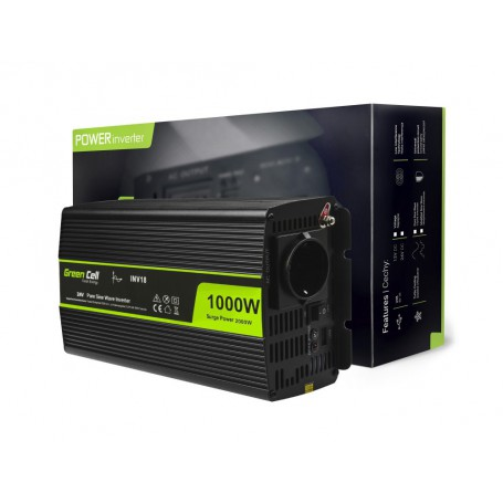 Green Cell - 2000W DC 24V to AC 230V with USB Current Inverter Converter - Pure/Full Sine Wave - Battery inverters - GC013
