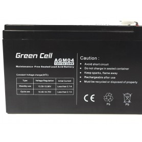 Green Cell, Green Cell 12V 7Ah (6.3mm) 7000mAh VRLA AGM Battery, Battery Lead-acid , GC038