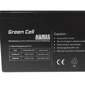 Green Cell - Green Cell 12V 7.2Ah (6.3mm) 7200mAh VRLA AGM Battery - Battery Lead-acid  - GC039
