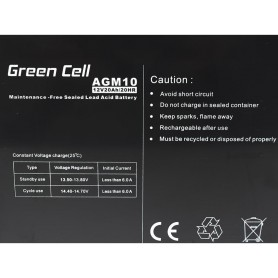 Green Cell - Green Cell 12V 20Ah (11mm) 20000mAh AGM VRLA Battery - Battery Lead-acid  - GC040
