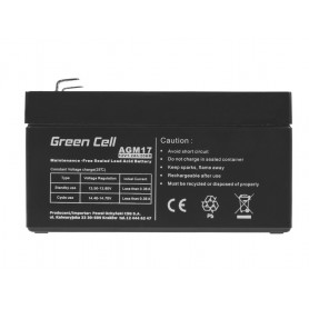 Green Cell - Green Cell 12V 1.2Ah (4.6mm) 1200mAh VRLA AGM Battery - Battery Lead-acid  - GC041 www.NedRo.us