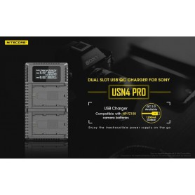 NITECORE, Nitecore USN4 Pro double USB charger for Sony NP-FZ100 batteries, Sony photo-video chargers, MF009, EtronixCenter.com