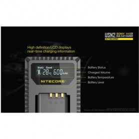 NITECORE, Nitecore double USB charger for Sony NP-BX1, Sony photo-video chargers, MF013, EtronixCenter.com