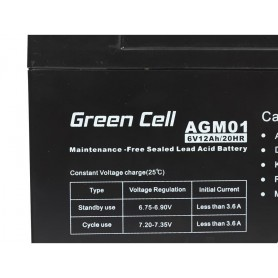 Green Cell, Green Cell 6V 12Ah (4.6mm) 12000mAh VRLA AGM Battery, Battery Lead-acid , GC049, EtronixCenter.com