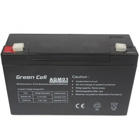 Green Cell - Green Cell 6V 12Ah (4.6mm) 12000mAh VRLA AGM Battery - Battery Lead-acid  - GC049