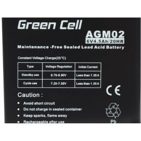 Green Cell - Green Cell 6V 4.5Ah (4.6mm) 4500mAh VRLA AGM Battery - Battery Lead-acid  - GC050 www.NedRo.us