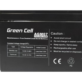 Green Cell - Green Cell 12V 12Ah (6.3mm) 12000mAh VRLA AGM Battery - Battery Lead-acid  - GC052 www.NedRo.us