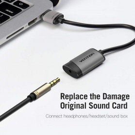 Vention - OMTP/CTIA USB External Sound Card to 3.5mm Audio Aux Mic Adapter - Audio adapters - V107-SINGLE www.NedRo.us