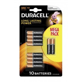 Duracell, 10-Pack Duracell LR03 / AAA / R03 / MN 2400 1.5V alkaline battery, Size AAA, BS134-CB