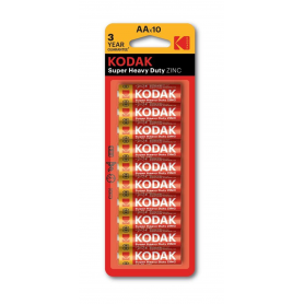 Kodak, Kodak ZINC Super Heavy Duty LR6 / AA / R6 / MN 1500 1.5V Alkaline battery - 10 Pieces, Size AA, BS413-CB