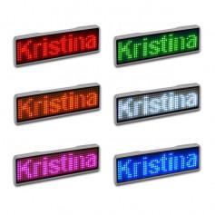 Sertronics - Sertronics LED name tag 9.3x3cm silver edge - LED gadgets - ON6295-CB