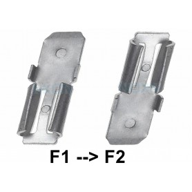 NedRo - 2x Clamp adapter Terminal for lead battery - from 4.74mm to 6.35mm (F1 to F2) - Battery accessories - NK439 www.NedRo.us